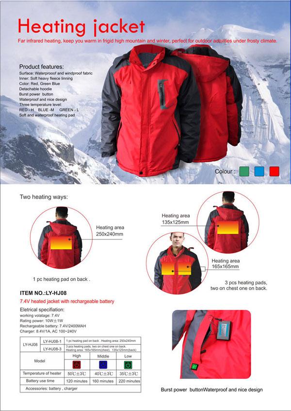Hj08 7 4v Battery Heated Jacket Heating Clothes