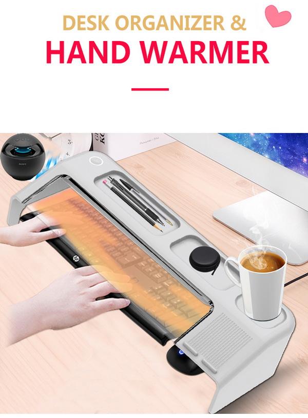Desk organizer with hands warmer